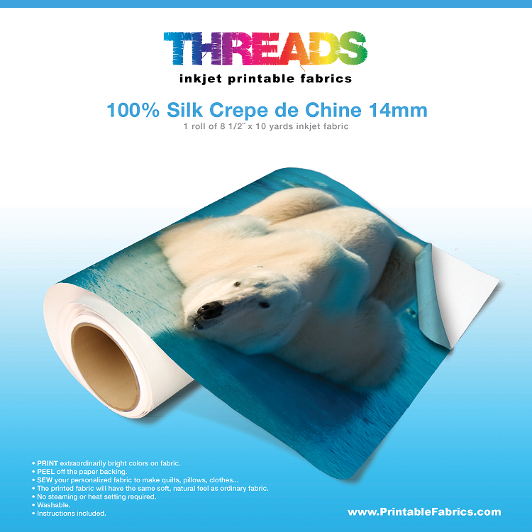 photo relating to Printable Silk Fabric called Silk Crepe de Chine 14mm inkjet material - 8 1/2
