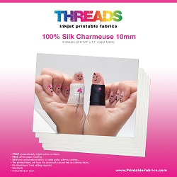 "8 1/2"" x 11"" Silk Charmeuse 19mm inkjet fabric - 6 sheets"