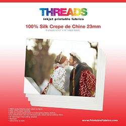 "13"" x 19"" Silk Crepe de Chine 23mm inkjet fabric - 6 sheets"
