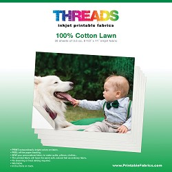 "8 1/2"" x 11"" Cotton Lawn inkjet fabric - 30 sheets"